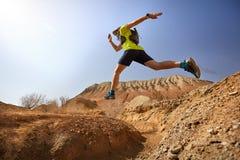 Runner in the desert royalty free stock photography