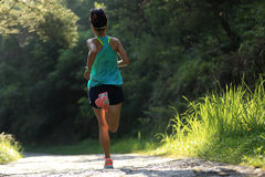 Runner athlete running on forest trail Stock Image