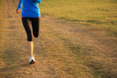 Runner athlete running on grass seaside. Royalty Free Stock Photography