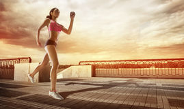 Runner athlete running at seaside. royalty free stock photos