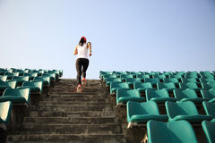 Runner athlete running on stairs Stock Images