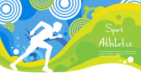 Runner Athlete Sprint Sport Competition Colorful Banner. Runner Athlete Sprint Sport Game Competition Flat Vector Illustration Royalty Free Stock Photos
