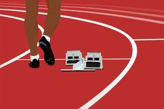 Runner athlete and starting blocks. On running track stadium stock illustration