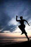 Runner on the beach stock photos