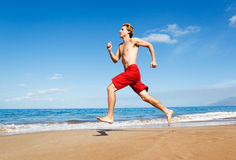 Runner on Beach Royalty Free Stock Photo