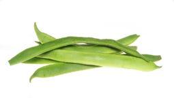 Runner beans. Fresh runner beans isolated on white stock images