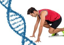 Runner with blue dna chain in white background. Digital composite of Runner with blue dna chain in white background Stock Photo