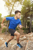Runner boy in the forest Royalty Free Stock Photos