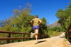 Runner on bridge Royalty Free Stock Photography