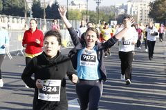 Happy runner at the marathon royalty free stock photography