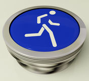 Runner Button Means Race Or Getting Fit Royalty Free Stock Image