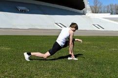 Runner at the city stadium Stock Image