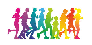 Runner. Colorful silhouettes of a group of runners Royalty Free Stock Photography