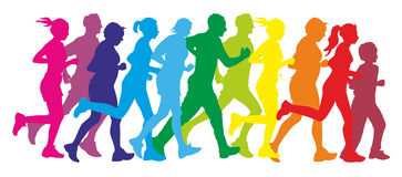 Runner. Colorful silhouettes of a group of runners Royalty Free Stock Images