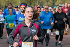 Runner Compete in Spring Half Marathon Royalty Free Stock Images
