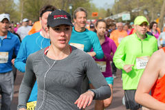 Runner Compete in Spring Half Marathon Royalty Free Stock Image