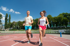 Runner on competition and future success. Royalty Free Stock Photos
