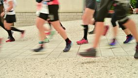 Runner Competitors starting an ultra trail running competition - detail of the legs of runners at the start of a ultra marathon ra stock footage