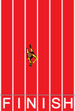 Runner Completing Race from Above Illustration. Looking from above, an athletic is finishing first Stock Images