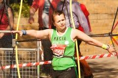 Runner Cooling Off. London Marathon Stock Photo