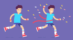 Runner-2 copy. The young couple character successfully running marathon. Pretty healthy sporty boys with tfinal winner ribbon abd firewalks. Vector flat Stock Photo