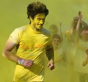 Runner covered in yellow paint Royalty Free Stock Image