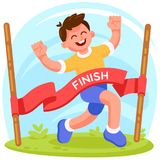 Runner crossed the finish line. Concept illustration. Vector concept illustration, finishing runner in modern flat style. Happy boy character, with raised hands Stock Photos