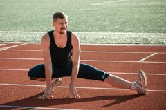 The runner does the stretching Royalty Free Stock Photo