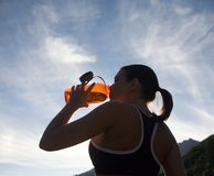 Runner drinking water Stock Images