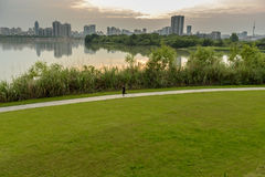 Runner in the evening.Take in Taohuadao island,Mianyang,China. Royalty Free Stock Images