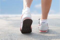 Runner Feet Running on road Royalty Free Stock Image