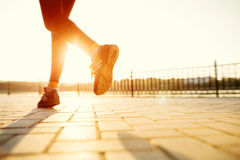 Runner feet running on road closeup on shoe. Woman fitness sunrise jog workout welness concept Royalty Free Stock Photo