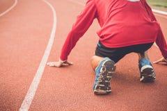 Runner feet on running stadium Royalty Free Stock Images