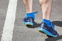 Runner feet running on stadium Stock Image