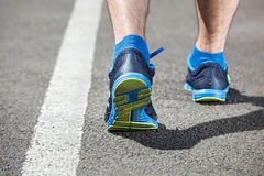 Runner feet running on stadium Royalty Free Stock Image