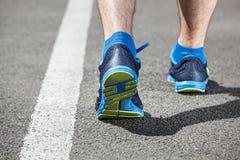 Runner feet running on stadium Royalty Free Stock Image