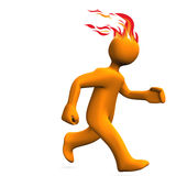 Runner Fire Hairs. Orange cartoon character runs on the white background Stock Photo