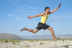 Runner flying in air Royalty Free Stock Photo
