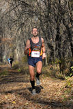 Runner in a forest amateur marathon the city park of dnepropetrovsk city november Royalty Free Stock Photography