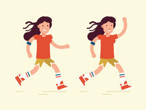 Runner-girl copy. The young couple characters running workout. Pretty girls with the players and the professional app. Vector flat illustration. Very easy to Stock Image