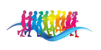 Runner. Group of male and female runner as colorful silhouettes vector illustration