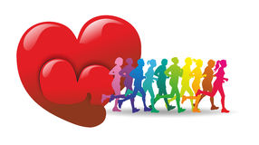 Runner. Group of male and female runner as colorful silhouettes Royalty Free Stock Photography