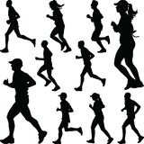 Runner group silhouette vector Royalty Free Stock Photo