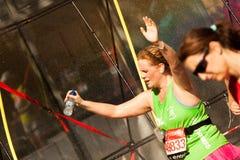 Runner Hands Up. Marathon Runner Spray Hands Up Stock Photos