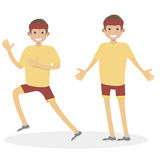 Runner happy man athlete jogging people`s character vector flat illustration. Royalty Free Stock Images