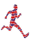 Runner jigsaw for 2012 UK olympics,vector file. A runner with UK flag jigsaw on white background Royalty Free Stock Image