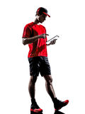 Runner jogger digital tablets ipad silhouette Royalty Free Stock Images