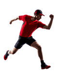 Runner jogger running jogging jumping silhouette Royalty Free Stock Photography