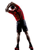 Runner jogger stretching warming up silhouette Stock Image