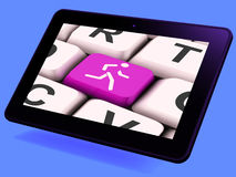 Runner Key Tablet Means Run Jog Or Aerobic Work-Out Royalty Free Stock Images